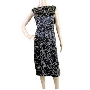 Feraud Geometric Embroidered Beaded Sabrina Dress